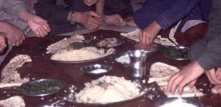 Dinner at the refuge camp